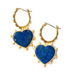 Heart Semi Precious Blue Lapis Drop Earrings